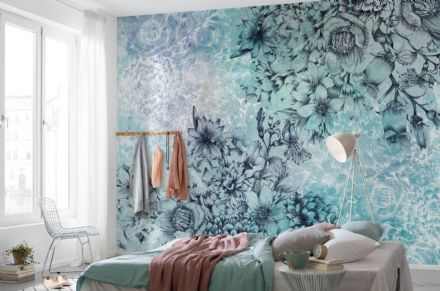 Non-woven wallpaper Blue flowers
